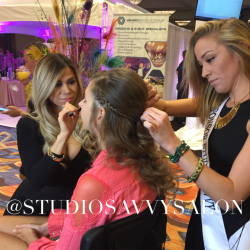 Bride hair style by Brooke Hasselmann of Studio Savvy Salon Services makeup by Nikki Caswell Wedding Party Expo Marriott Marquis San Diego
