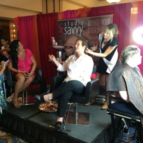 Studio Savvy Salon doing hair and makeup at San Diego Marriott Marquise Wedding Party Expo