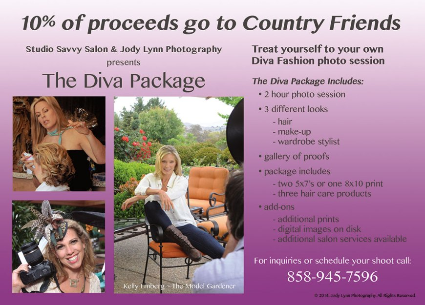 The Diva Package Photo Shoot, 2 hours, 3 looks, hair, make-up, wardrobe stylist. Show your inner Diva!