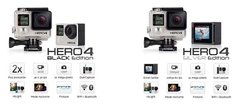 Caméras GoPro Hero4 Black et Silver Edition