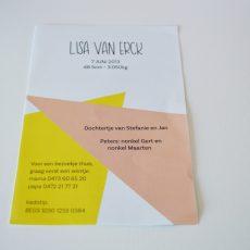 Achterkant geboortekaartje Lisa