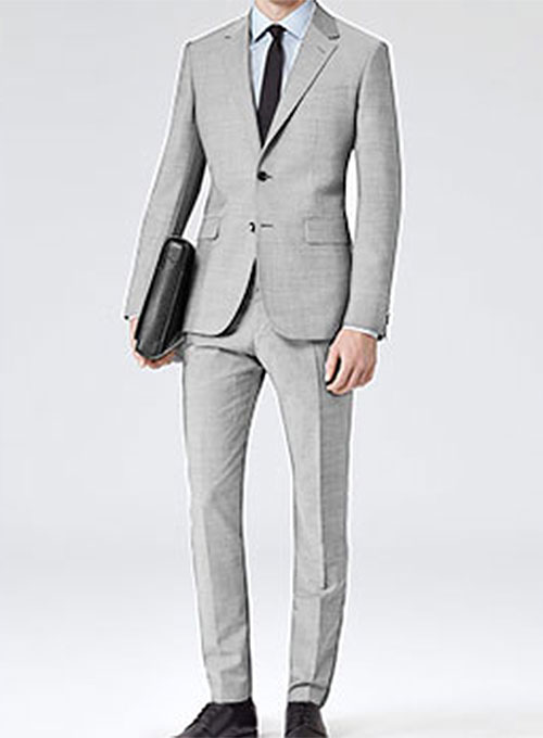 Worsted Light Gray Wool Suit  StudioSuits Made To Measure Custom Suits Customize Suits