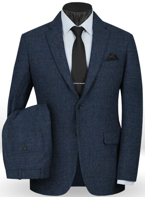 Vintage Rope Weave Dark Blue Tweed Suit  StudioSuits
