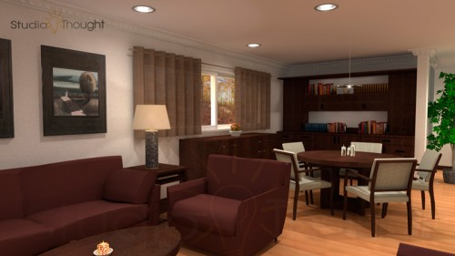 Living room interior with bookshelf, and miscellaneous furniture