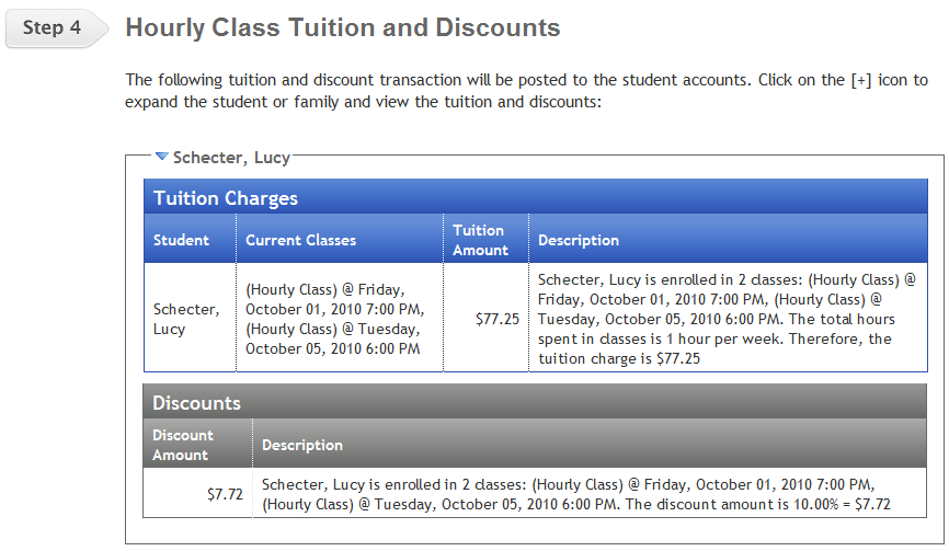 Posting Hourly Tuition