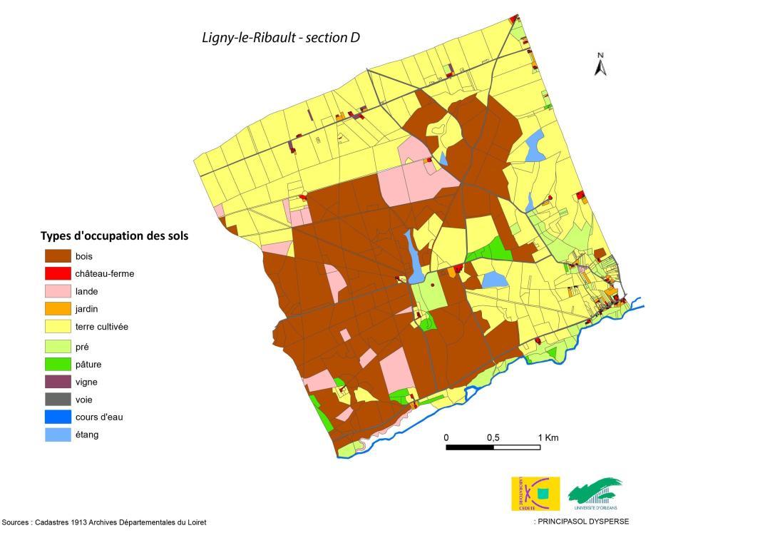 Occupation du sol dans le secteur nord-ouest de la commune de Ligny le Ribault en 1913.