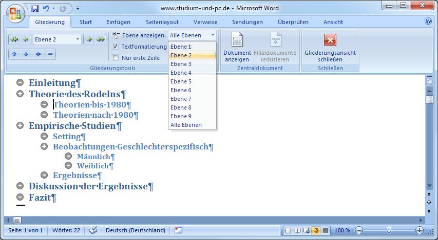 Formatvorlagen In Word Für Inhaltsverzeichnis Design Und Layout
