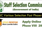 SSC Staff Selection Phase VIII 2020