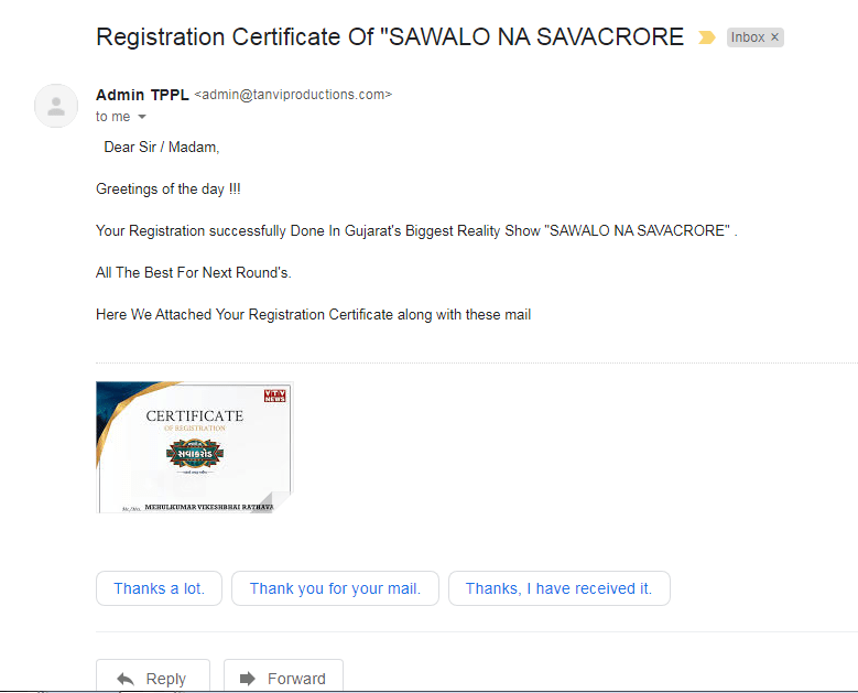 after registration you get certificate from the vtc
