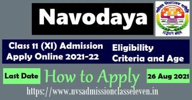 Navodaya Class 11 (XI) Admission Apply Online 2021-22