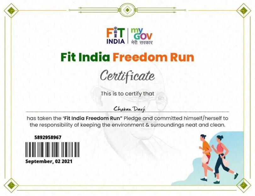 FIT India run Certificate 2021