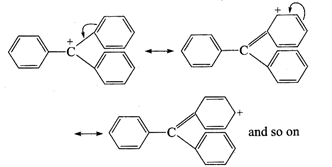 Triphenyl cation is stabilizedby exhaustive resonance