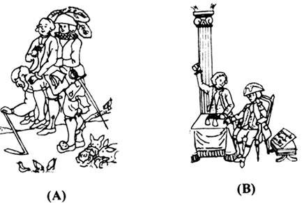 question_answer 7) Both the cartoons (A and B) depict two