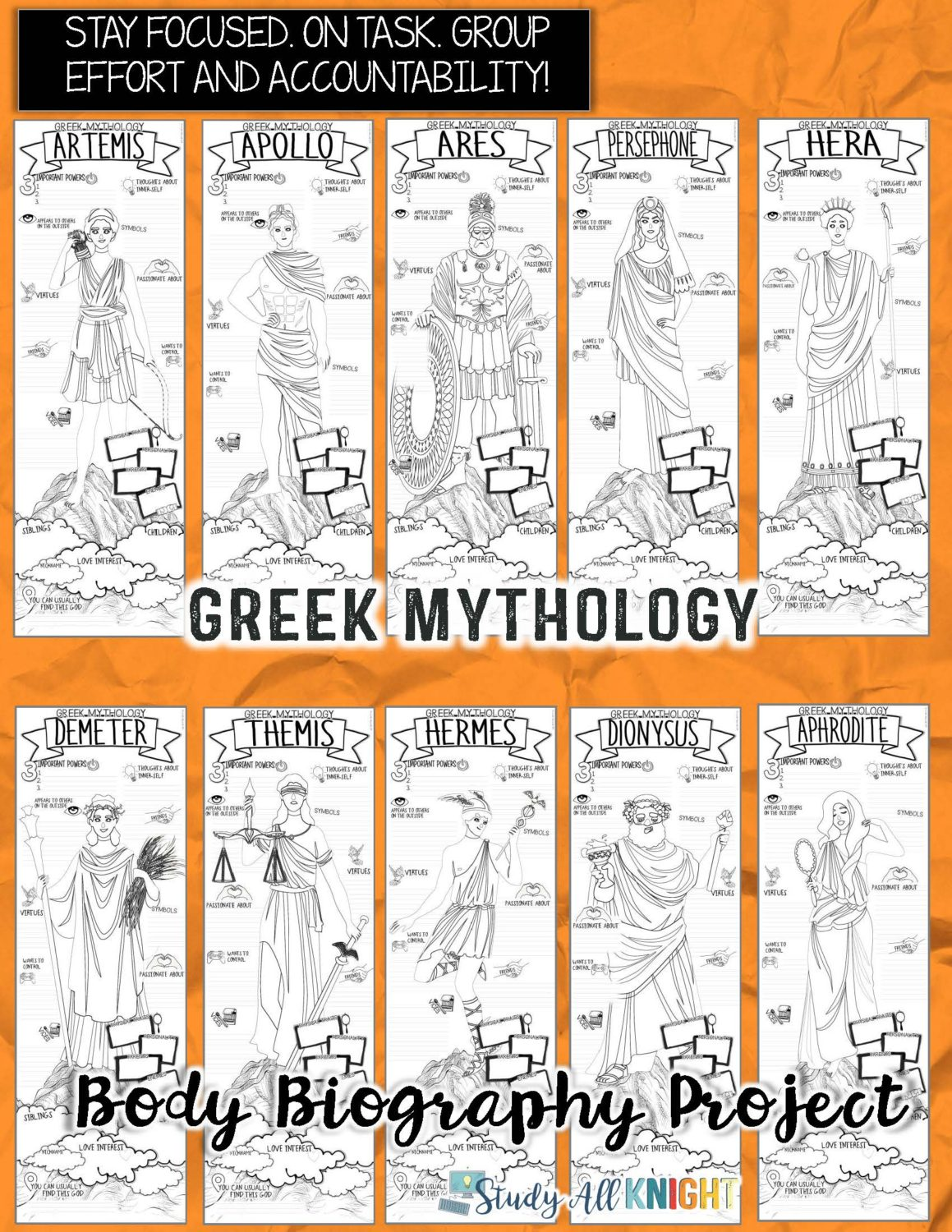 Greek Mythology And Literature Body Biography Project