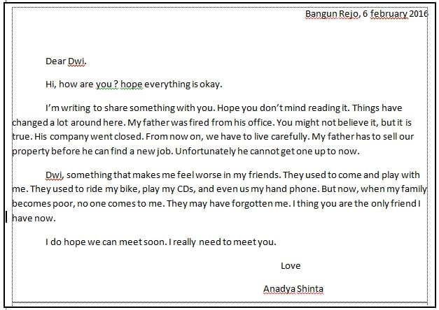 Contoh Cover Letter In English