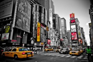 Busy Times Square in New York City borough of Manhattan