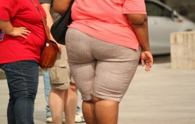 Obese woman walking