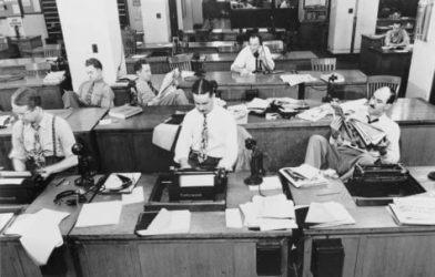 Vintage photograph of newsroom