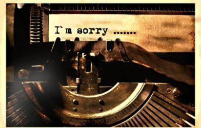 """I'm sorry"" apology on typewriter"