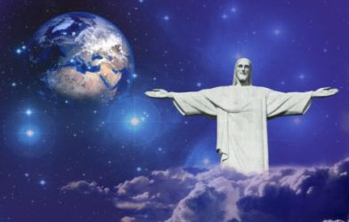 Jesus Statue in front of Earth