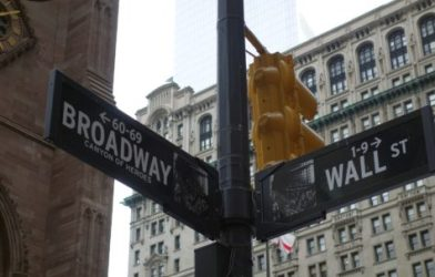 Wall Street and Broadway signs in New York