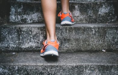Person exercising on steps