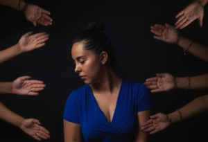Woman stressed by others