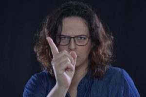 Woman shaking her finger angrily