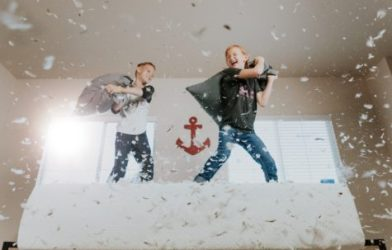 Children having pillow fight