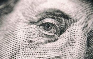 Ben Franklin's eye on $100 bill