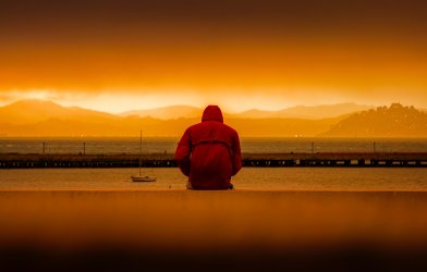 Man alone at sunset