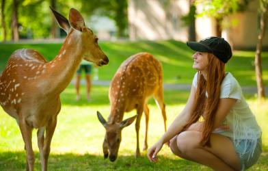 Woman with deer