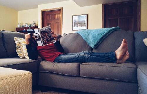 Person laying on the couch