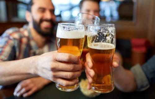 Men drinking beer, having toast at bar