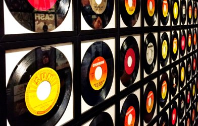 Records, record albums on wall
