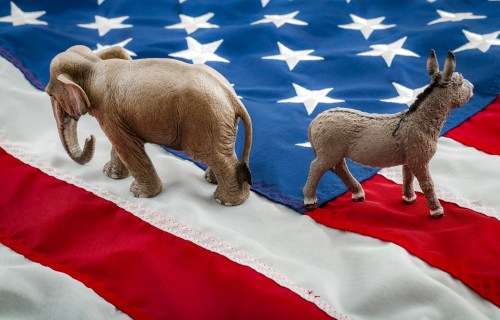 U.S. Politics - Democrats and Republicans, donkey and elephant on flag
