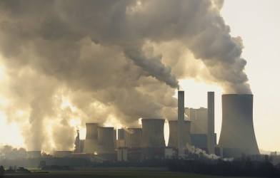 Air pollution from brown coal power station