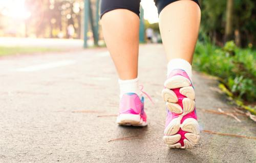 Person walking for exercise