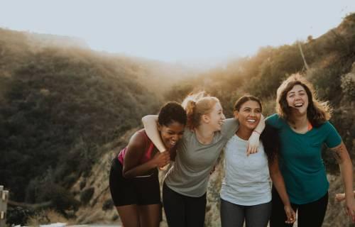 Group of friends enjoying a hike