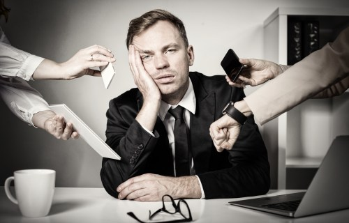 Busy man stressed out