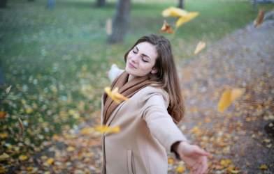 Happy woman alone