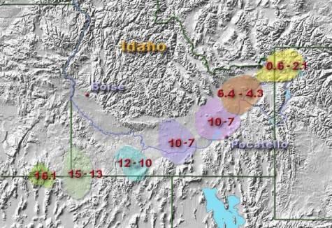 Yellowstone hotspot track.