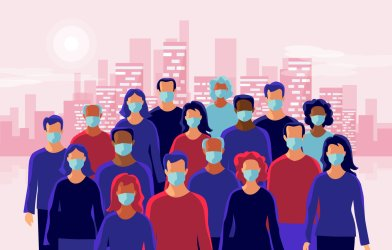 Image of people wearing masks during coronavirus / COVID-19 outbreak in front of skyline