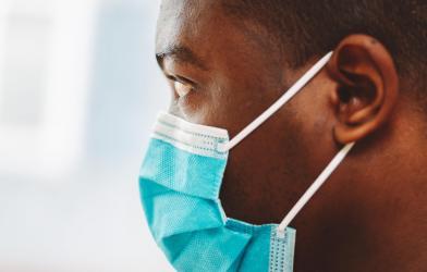 Black man wearing mask during COVID-19 / coronavirus outbreak
