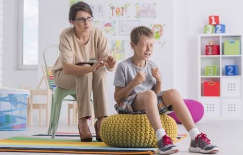 Angry, violent child having temper tantrum