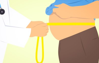 Doctor measuring waist of overweight or obese man