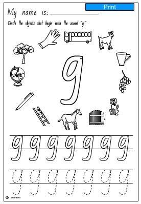Aural Discrimination- initial sound g, English skills