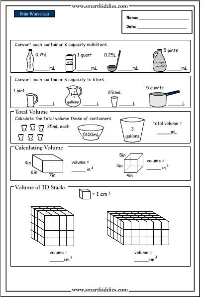 Converting and calculating volume, Mathematics skills