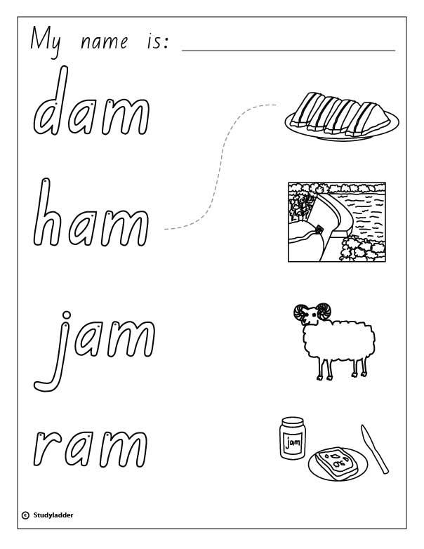 Words and Pictures: ham, jam, ram, dam, English skills