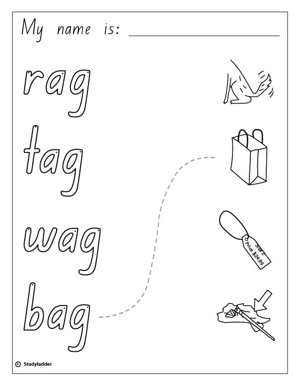 Words and Pictures: rag, tag, wag, bag, English skills